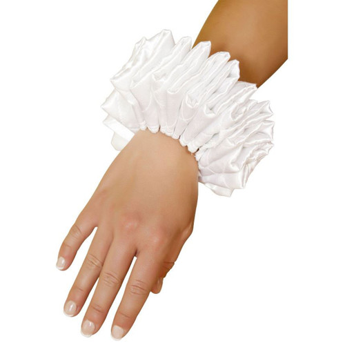 Pair of Ruffled Wrist Cuffs - Great Costume Accessory - Genuine Roma Product