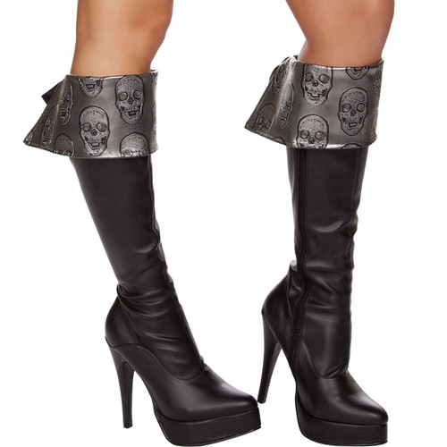 Skull Embroidered Pirate Boot Cuffs - GREY - Genuine Roma Product