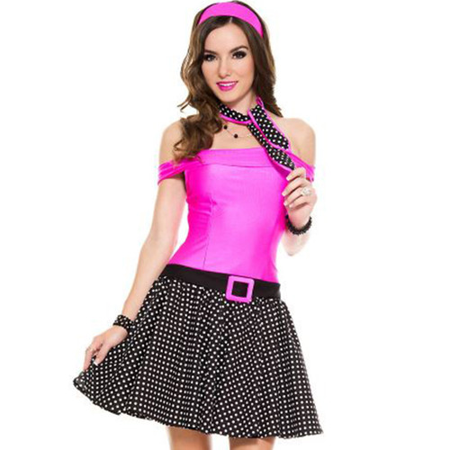 3 pc. 50's Inspired Cutie w Polka Dot & Fuchsia Dress, Headband, Scarf - Sz XS-XL