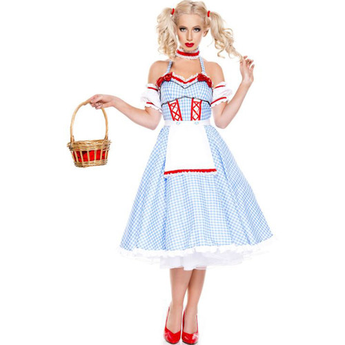 4 pc. Dorothy Doll with Gingham long print Dress- Sz XS-XL