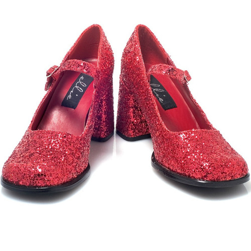 "3"" Heel Mary Jane Shoe w Glitter - Up to size 14"