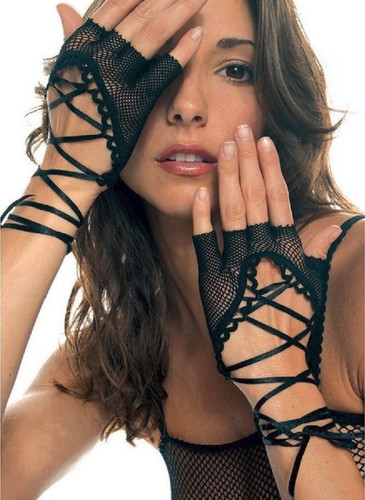 Lace Up Wrist Length Fishnet Fingerless Warmer Gloves - O/S