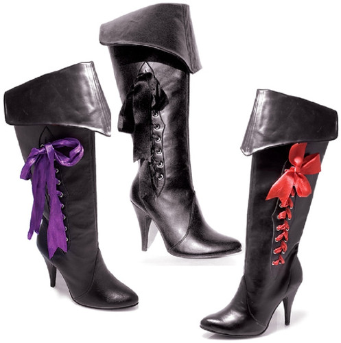"4"" Spike Heel Knee High Boots w 3 Interchangeable Ribbons"