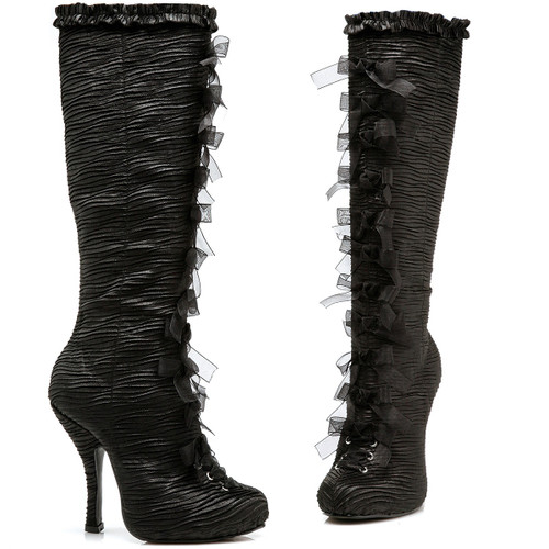 """4"""" Satin Knee High w Bow and Ruffle Detail and Inner Zipper"""