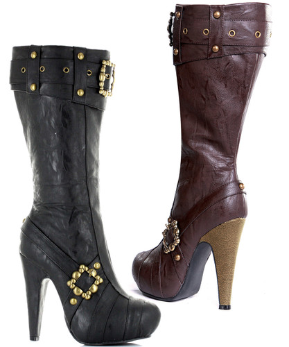 "4"" Knee High Boot w Buckles and Studs"
