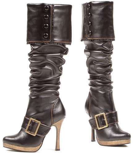 """4"""" Heel Knee High Boot w Strap and Buckle Detail"""