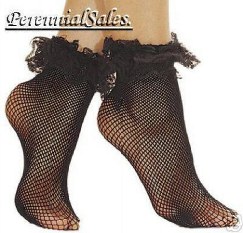 Fishnet Ruffle Top Ankle Hi Stockings in Black or Red