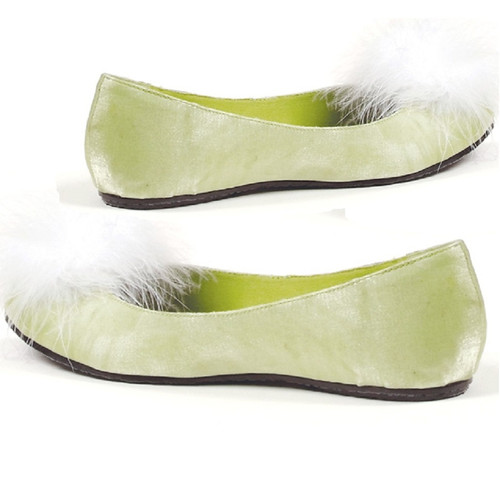 Flat Satin Green Pump w Maribou at Toe - Sz 5-11 TINKER