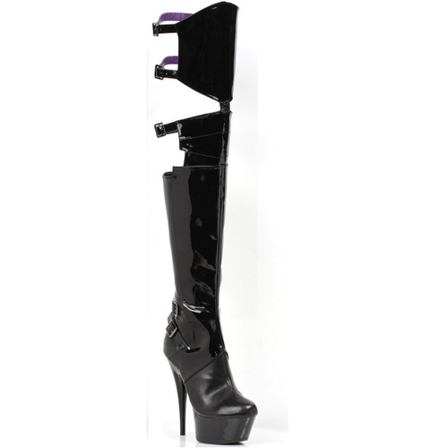 Thigh High Stiletto Boots w Cutout Back and Buckles
