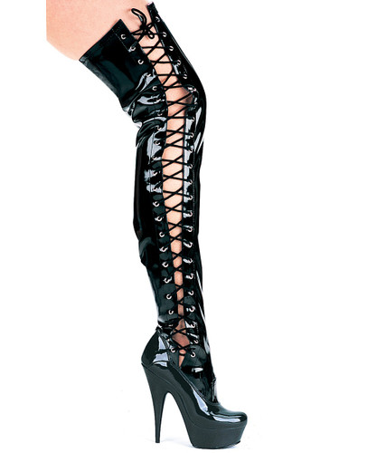 "6"" Stiletto Thigh High Boots w Side Laces"