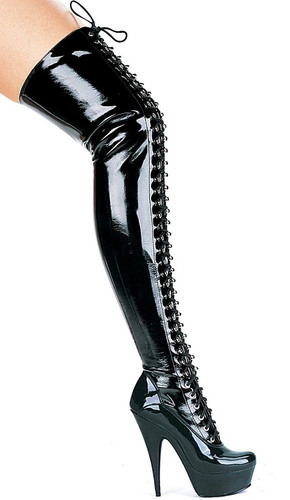 "PVC Lace-Up Boots w 6"" Stiletto Heel & Platform"