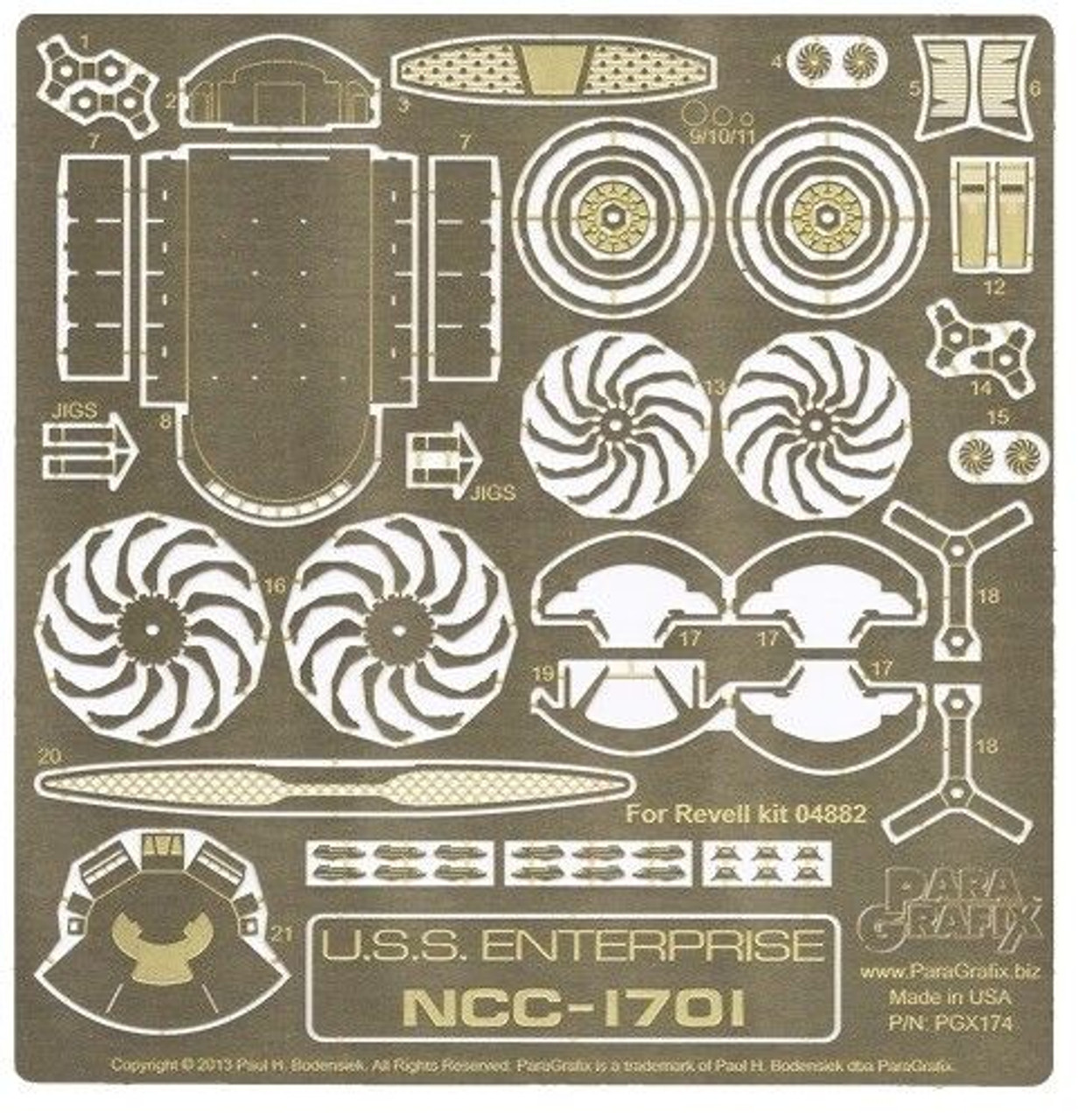Paragrafix PGX174 1/500 Star Trek 2009 USS Enterprise Photoetch Set