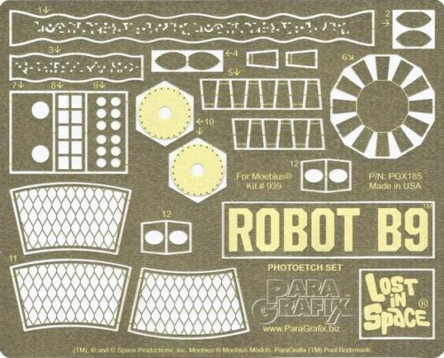 Paragrafix PGX185 1/6 Robot B9 Photoetch Set For Moebius 939 Model Kit