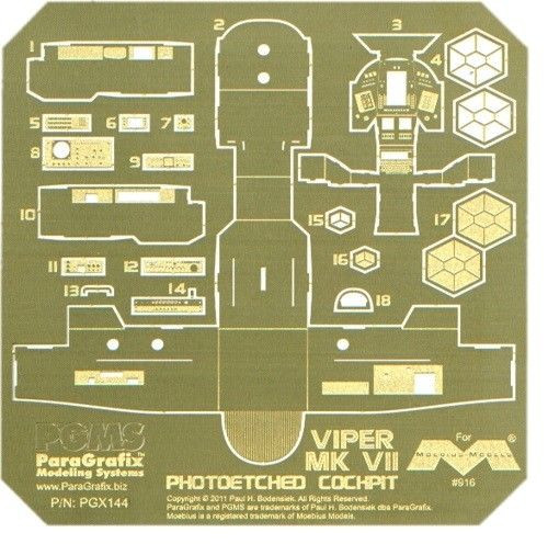 Paragrafix PGX144 1/32 Battlestar Galactica Viper Mk VII Lightable Photoetch