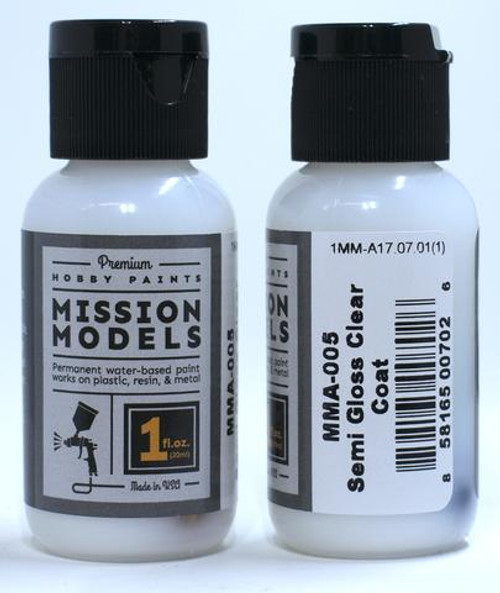 Mission Models MMA005 - SEMI GLOSS CLEAR COAT 1fl.oz bottle