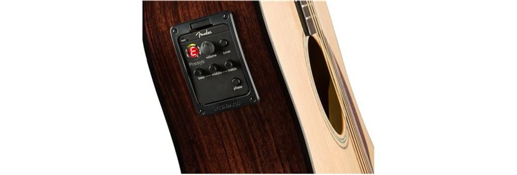 Fender CD140SCE Acoustic Electric Guitar Electronics Closeup