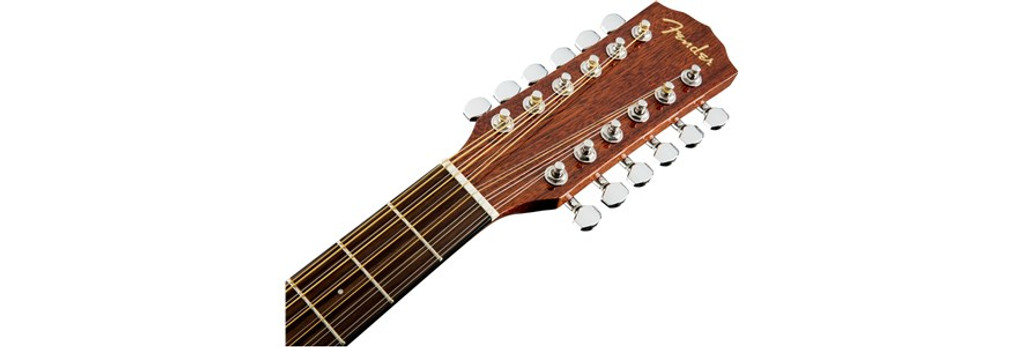 Fender CD60SCE 12-String Acoustic-Electric Guitar Headstock Front Facing
