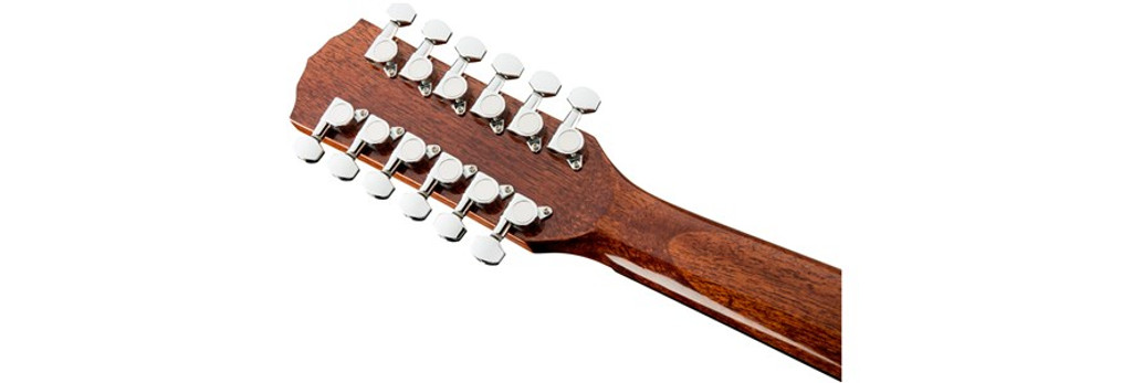 Fender CD60SCE 12-String Acoustic-Electric Guitar Headstock Rear Facing