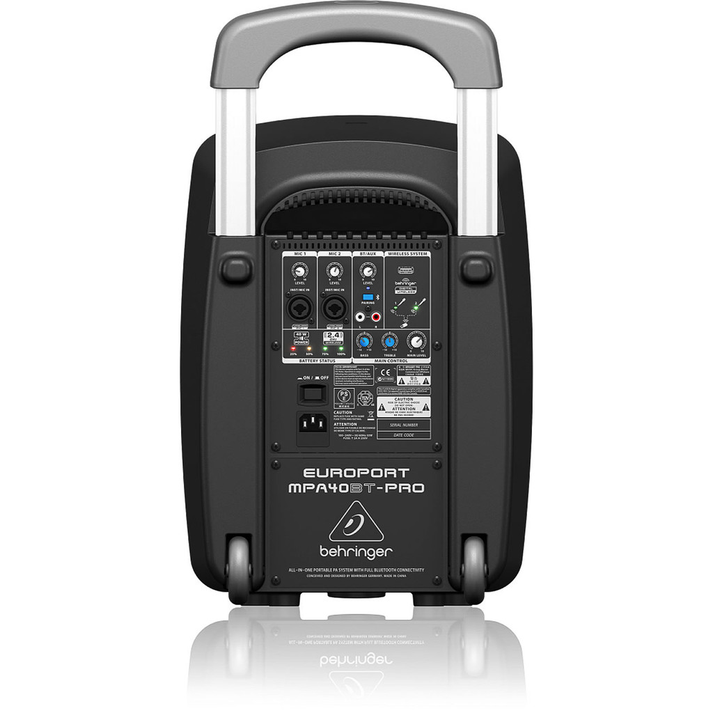 Behringer MPA40BTPRO All-in-ONe Portable PA System w/ Bluetooth rear