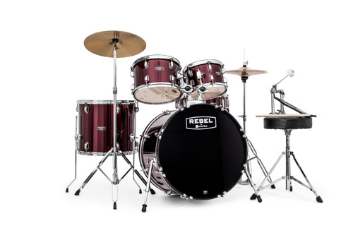 Dark Red Rebel 5 piece Drum Set