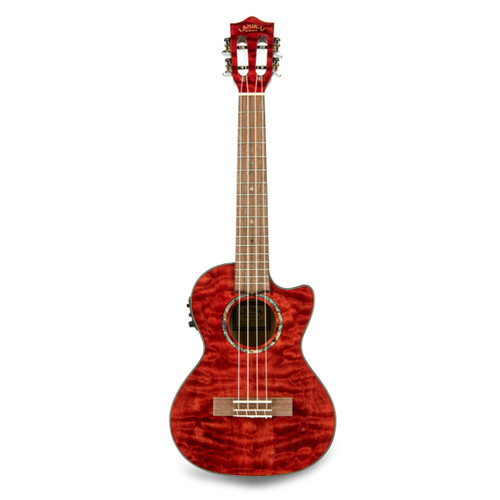 Lanikai QM-RDCET Quilted Maple Red Stain Tenor with Kula Preamp A/E Ukulele