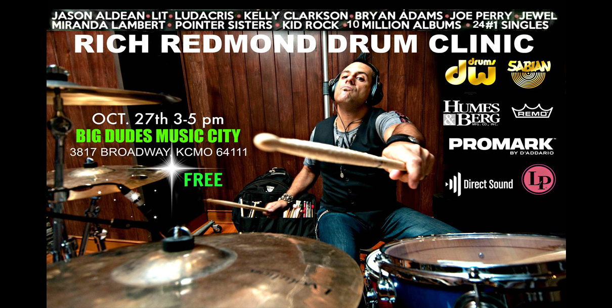 Rich Redmond Drum Clinic at Big Dudes Music City in KCMO Oct. 27 2018 3 - 5 pm