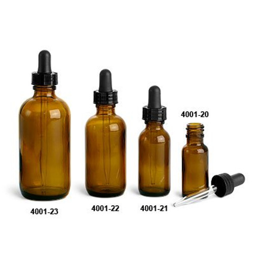 4, 2, 1, and .5 oz Amber Glass Boston Rounds with Black Bulb Glass Droppers