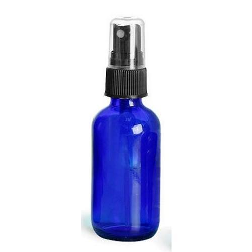 2 oz Cobalt Blue Glass Boston Round with Black Fine Mist Sprayer