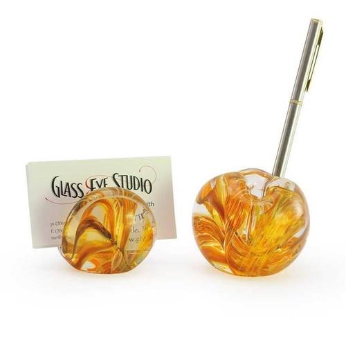 Glass Eye Studio Card Holder & Pen Holder Set - Amber