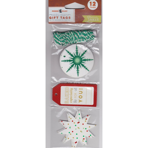 NordicWare Holiday Gift Tags With Baker's Twine - 12 Pack