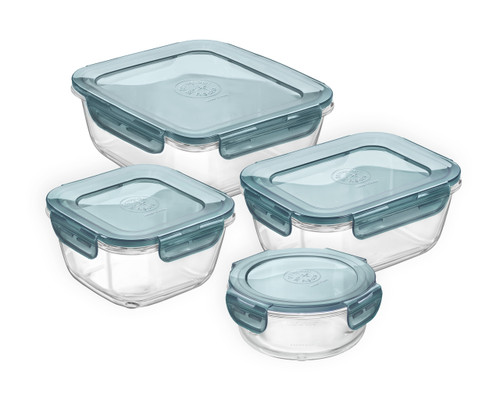 Bormioli Rocco Evolution 4 Piece Set - Slate Blue Lids (BR 389115SAM021990)