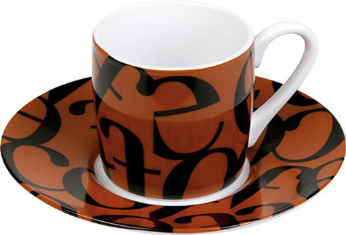 Konitz Espresso Cup and Saucer Set - Scrip Collage - Brown Black (WK 1150530240)