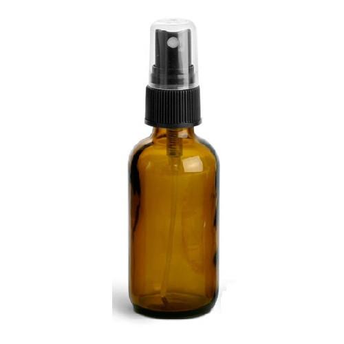 2 oz Amber Glass Boston Round with Black Fine Mist Sprayer (TMC 4001-39)