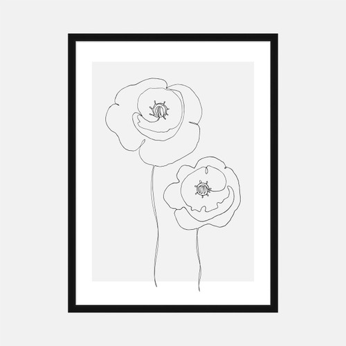 'Single Line Poppies' (gray) Art Print from The Printed Home