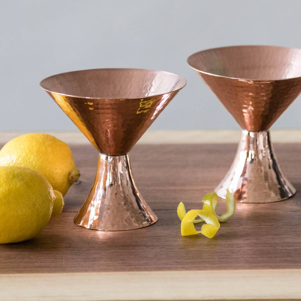 Hammered Copper Martini Glasses by Sertodo Copper (set of two with lemons)