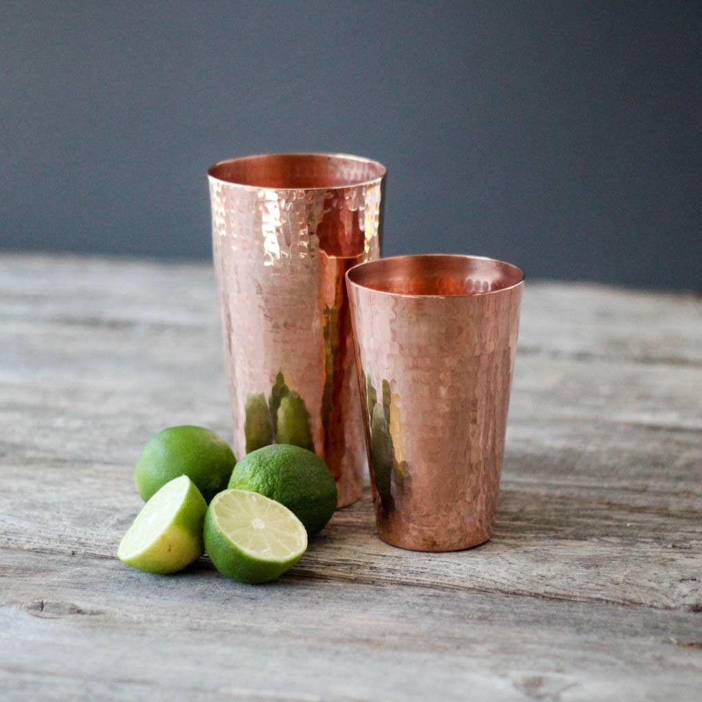 Sertodo Copper Shaker Set, 30 ounce cup and 18 ounce cup with limes