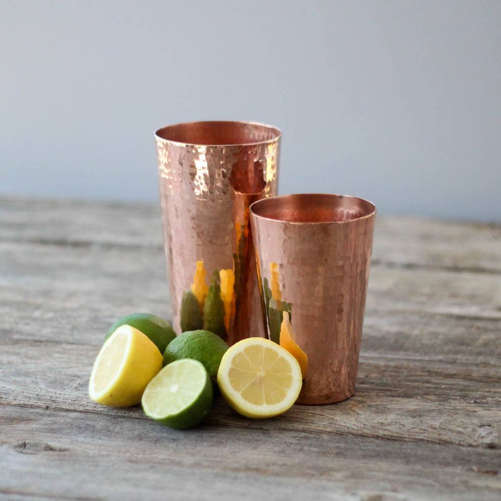 Sertodo Copper Shaker Set, 30 ounce cup and 18 ounce cup with lemons and limes