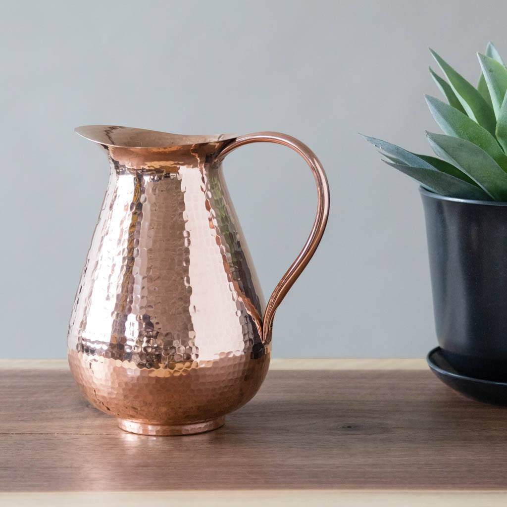 Hammered Copper Pitcher by Sertodo Copper (76 Ounce Bisotun Pitcher with Copper Handle)