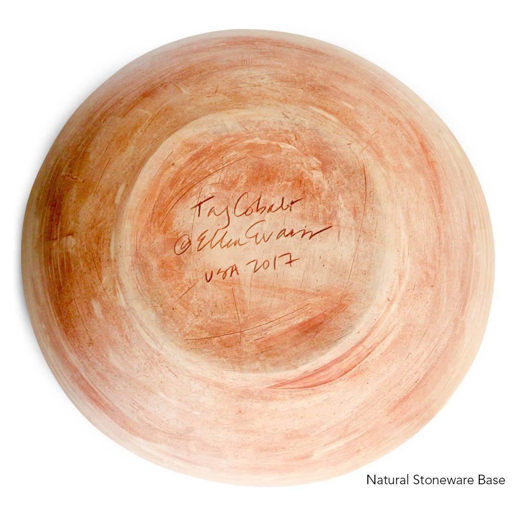 Natural Stoneware Base of Terrafirma Ceramics Medium Serving Bowl (Cobalt/Taj)