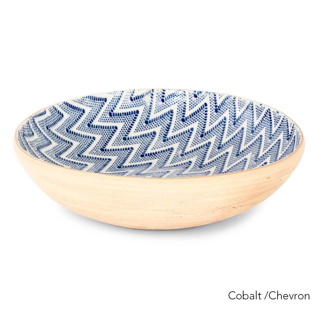 Terrafirma Ceramics Medium Serving Bowl (Cobalt/Chevron)
