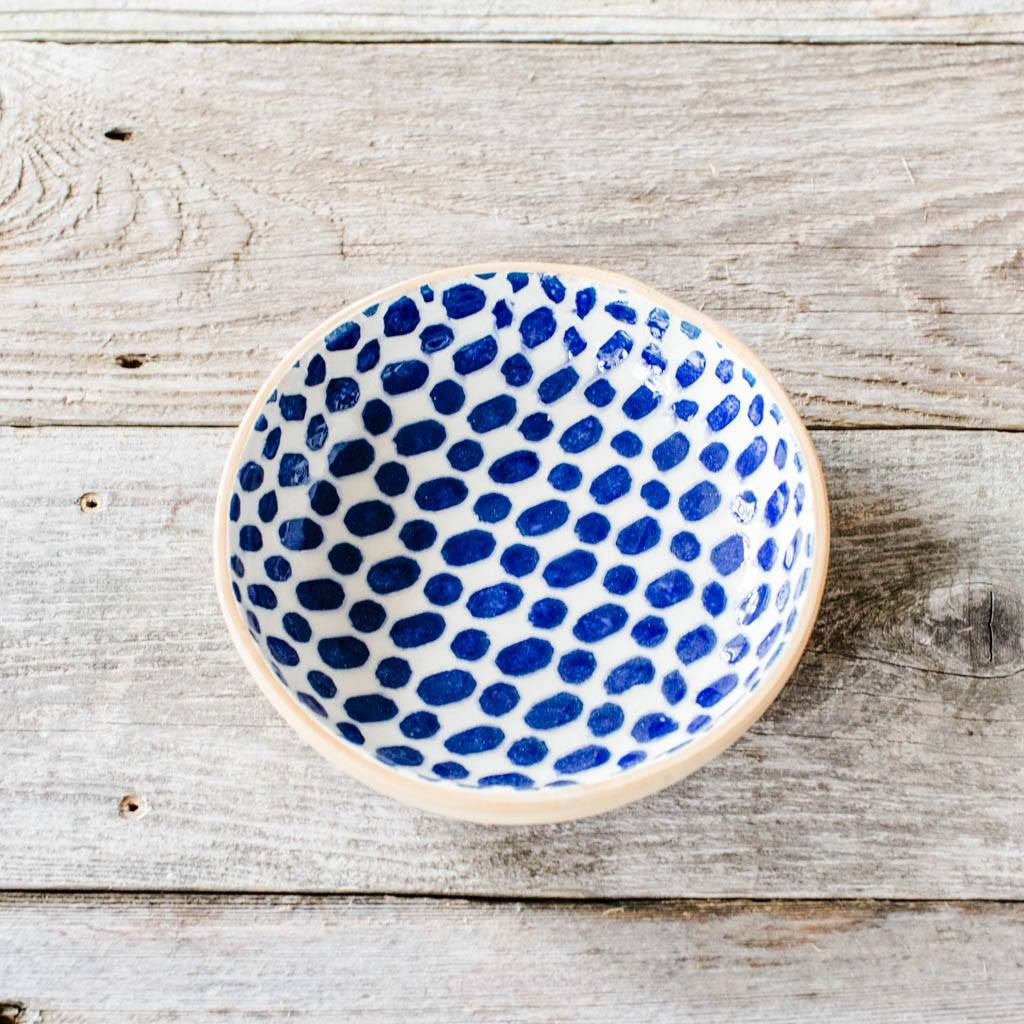 Terrafirma Ceramics - Handmade Ceramic Fruit Dessert Bowl - Pattern: Dot, Color: Cobalt by Ellen Evans