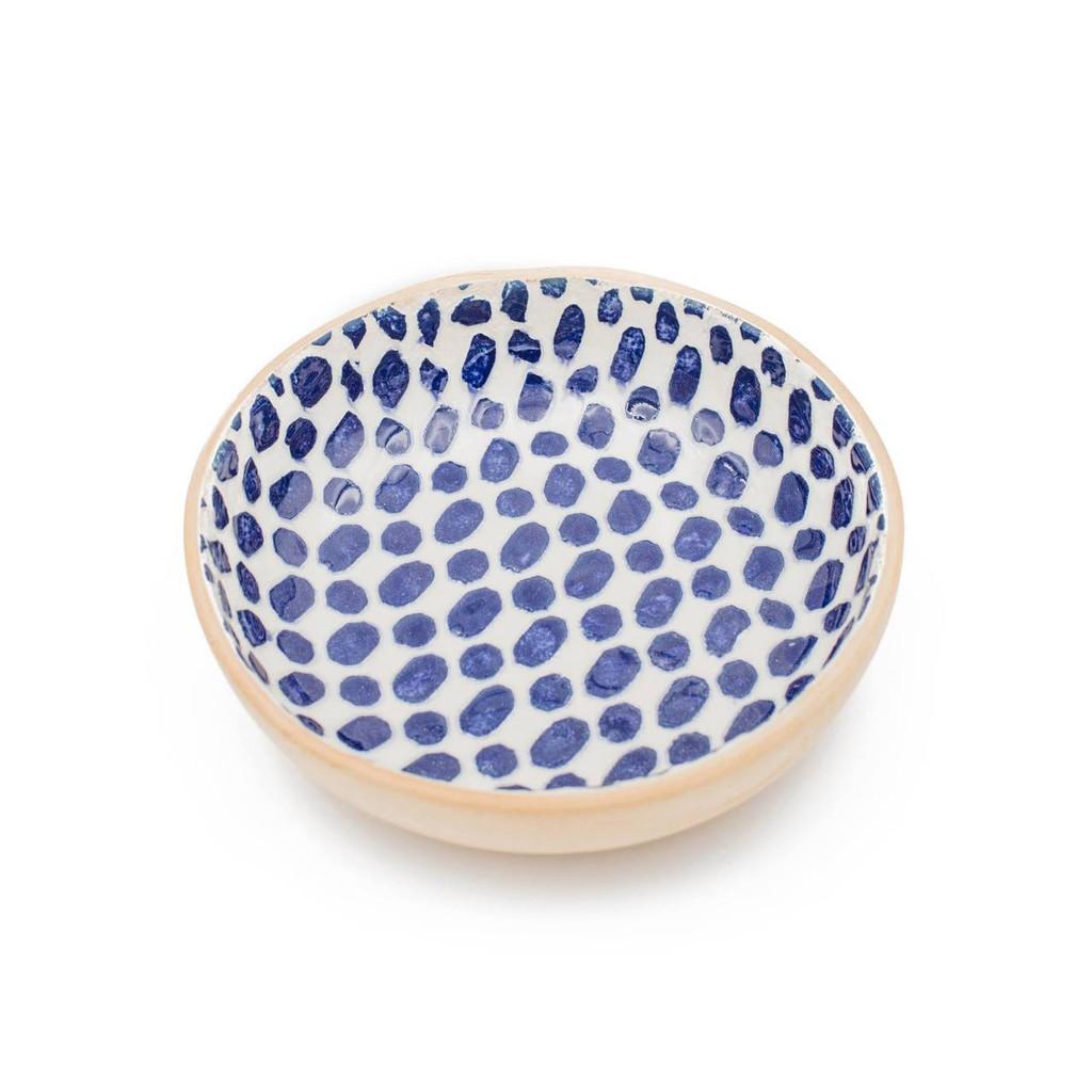 Terrafirma Ceramics - Handmade Ceramic Fruit Dessert Bowl - Pattern: Dot, Color: Cobalt by Ellen Evans (white background)