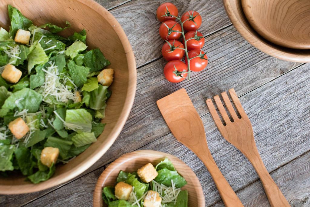 Handmade Salad Server Set (Cherry) with Handmade Wooden Salad Bowls by Rockledge Farm Woodworks
