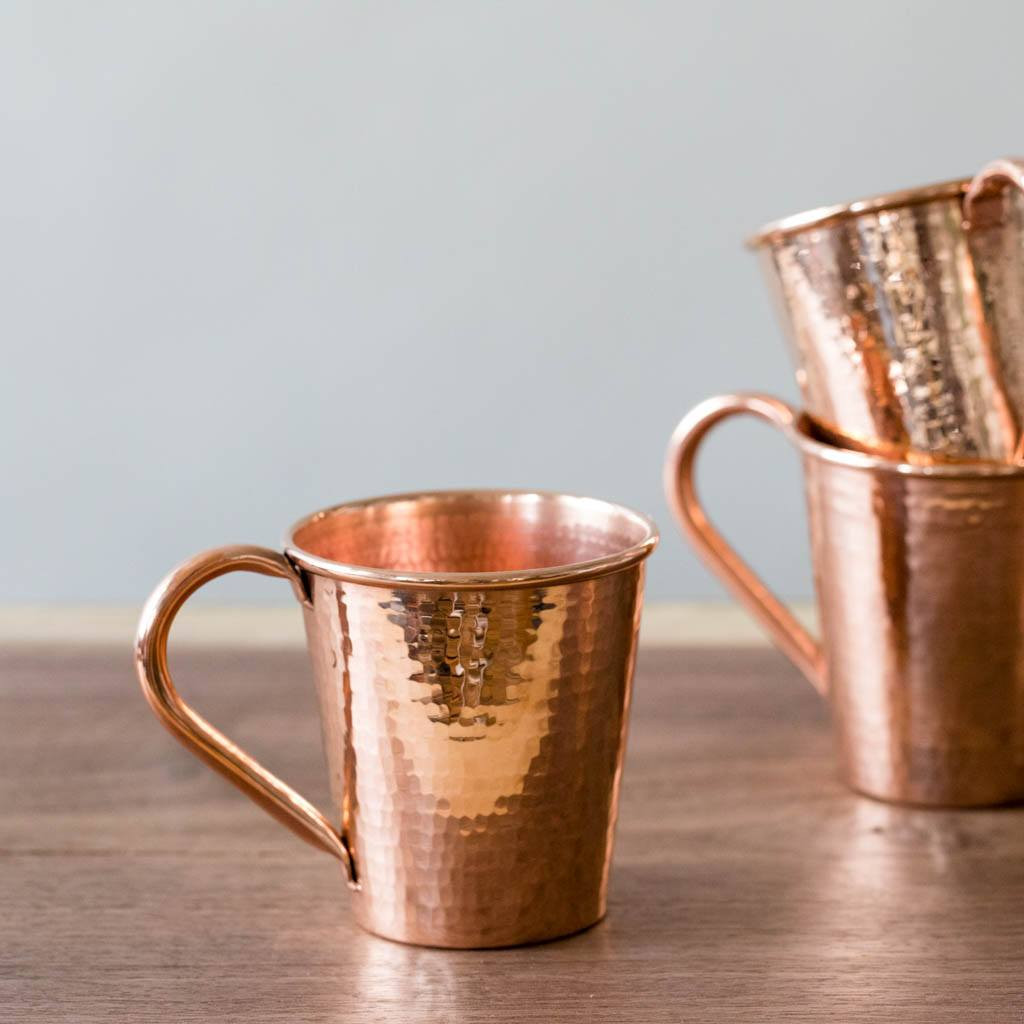 Hammered Copper Moscow Mule Mugs by Sertodo Copper (Copper Handle - 12 ounce)