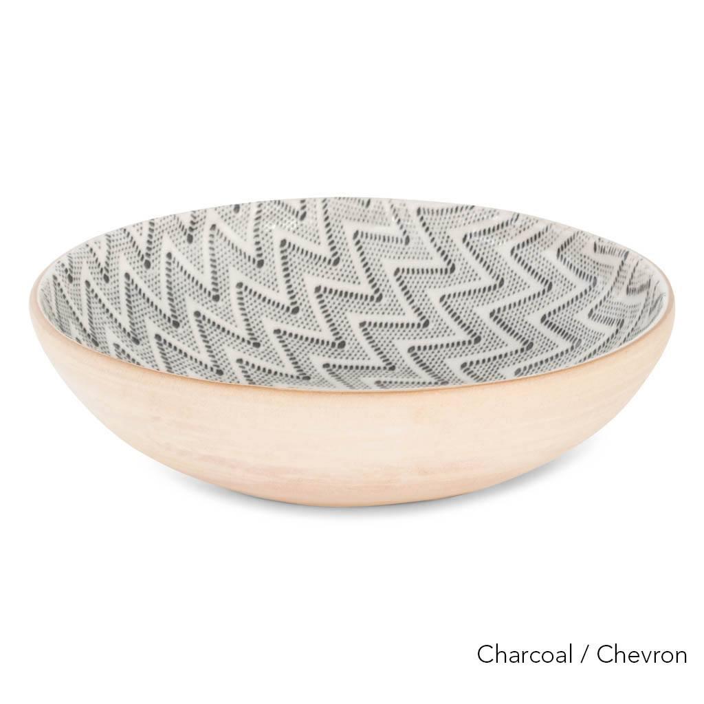 Terrafirma Ceramics  - Medium Serving Bowl (Charcoal/Chevron)