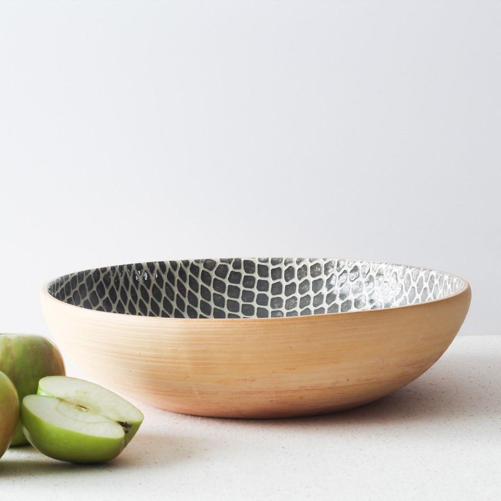 Terrafirma Ceramics  - Medium Serving Bowl (Charcoal/Taj) with apples