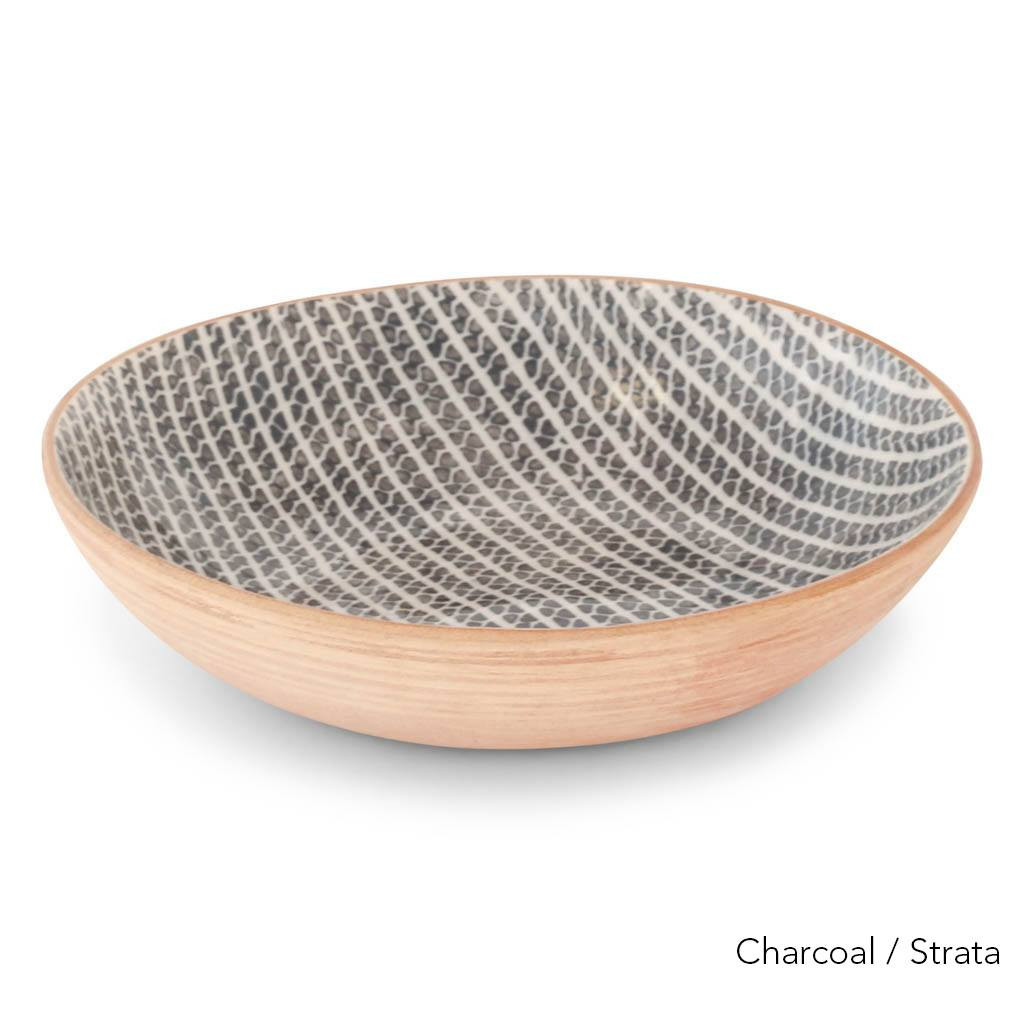 Terrafirma Ceramics - Handmade Ceramic Bowl (8  inch) - Pattern: Strata, Color: Charcoal by Ellen Evans