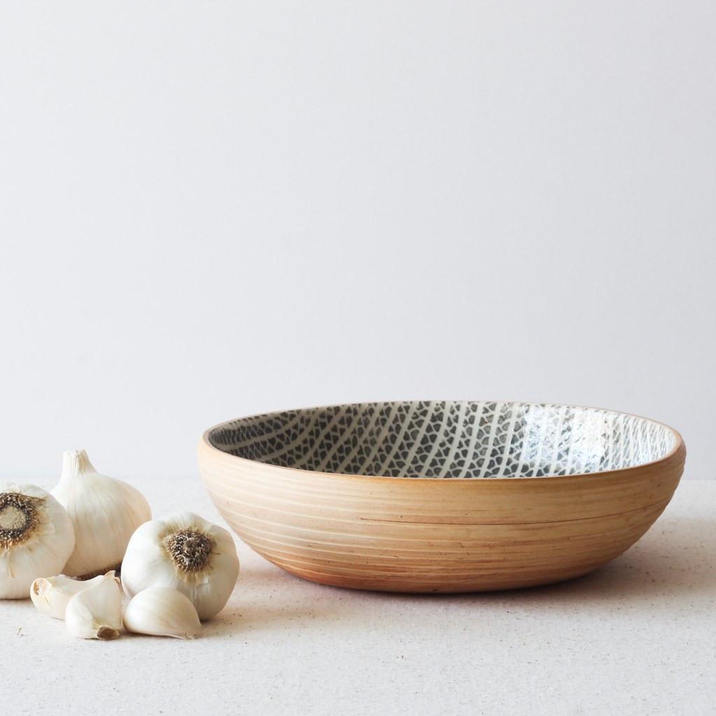 """Terrafirma Ceramics - 8"""" Small Serving Bowl (Charcoal/Strata)"""