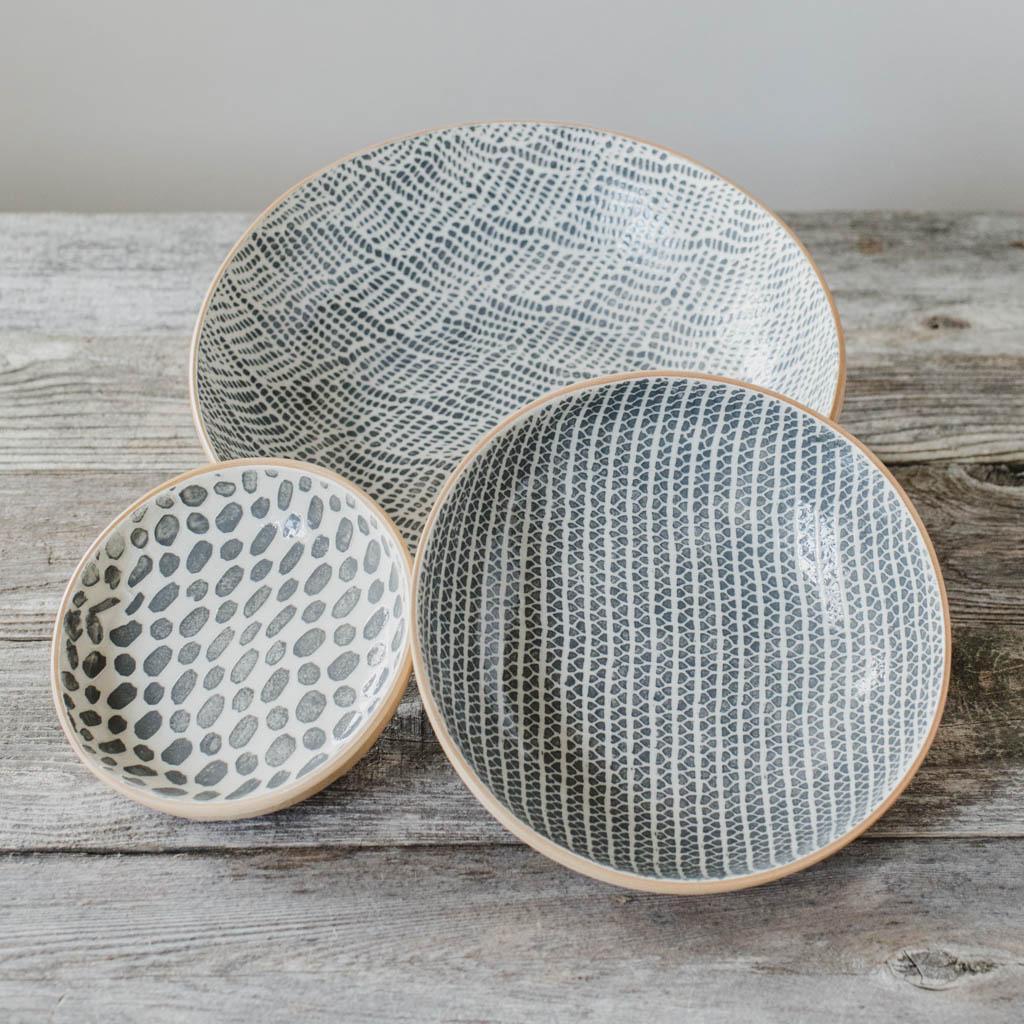 Terrafirma Ceramics Collection- Handmade Ceramic Bowls - Medium Serving Bowl (12 inch) -Braid, 8 inch bowl - Strata, Fruit Dessert Bowl - Dot - Color: Charcoal by Ellen Evans