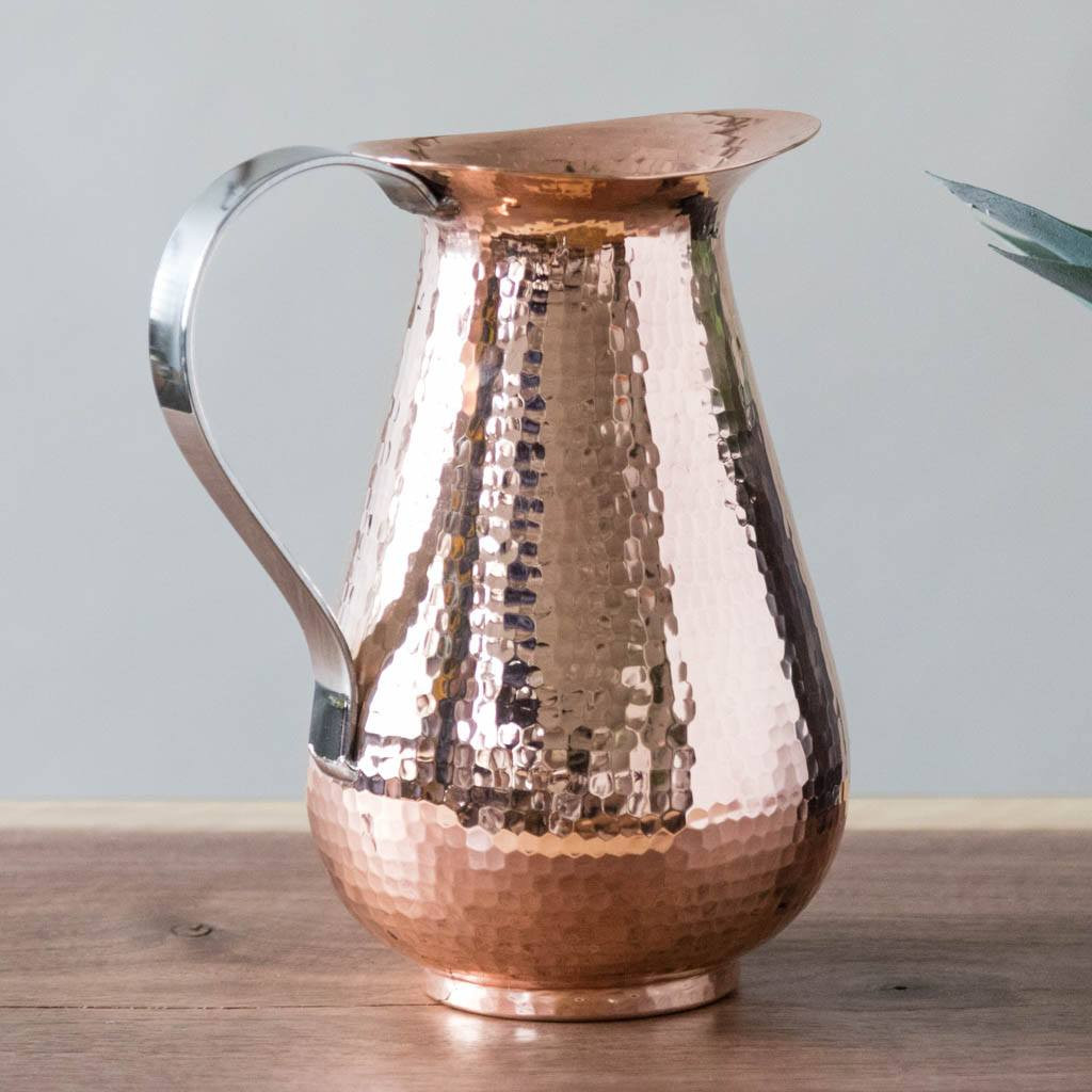 Pure Copper Water Pitcher by Sertodo Copper (Bisotun Pitcher with Stainless Steel Handle - 76 ounce)